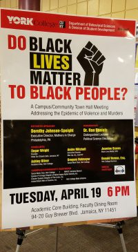 This is the poster advertising the event and who would be speaking. It also details violence in the black community as the center of discussion.Original photo by Brienne Kenlock.