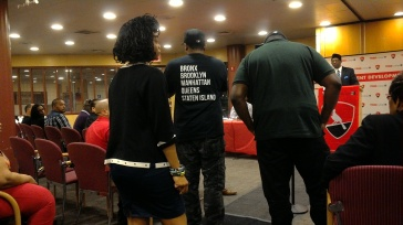 People from MIC speak to the panelists and audience on their experiences within the criminal system and how they now help at-risk-youth to not repeat the same cycle. Original photo by Brienne Kenlock.